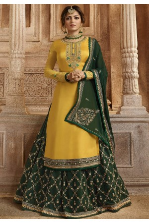 Yellow and Green Satin Georgette Lehenga and Churidar Designer Suit 3004