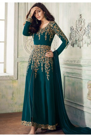 blue shade georgette embroidered front slit trouser style suit 8204