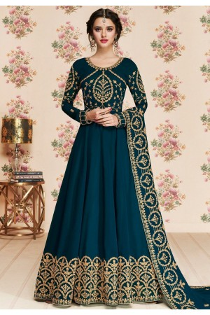 blue shade georgette embroidered long anarkali suit 8187
