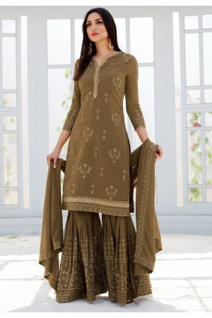 brown georgette straight sharara style suit 500