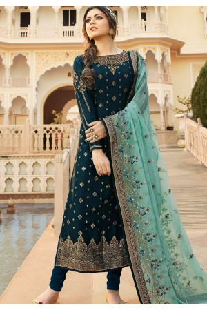 dark blue jacquard embroidered straight churidar suit 3702