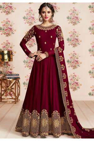 dark pink georgette embroidered long anarkali suit 8188