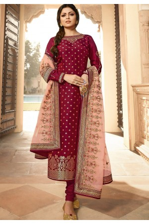 dark pink jacquard embroidered straight churidar suit 3703