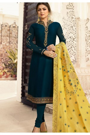 drashti dhami blue shade satin georgette straight churidar bollywood suit 4006