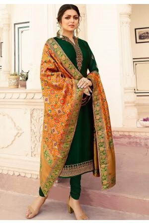 drashti dhami dark green satin georgette straight churidar bollywood suit 4002