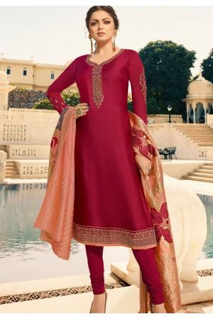 drashti dhami dark pink satin georgette straight churidar bollywood suit 4007