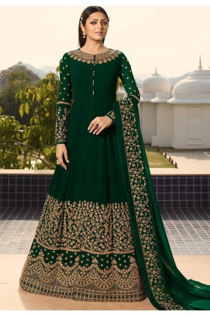 drashti dhami green georgette embroidered floor length anarkali suit 3803