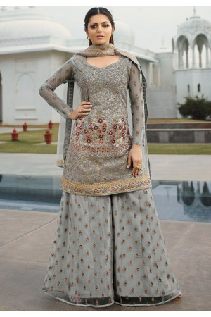 drashti dhami grey net embroidered palazzo style suit 3804