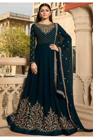 drashti dhami navy blue georgette embroidered floor length anarkali suit 3807
