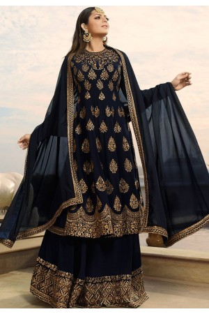 drashti dhami navy blue georgette embroidered lehenga style suit 3801