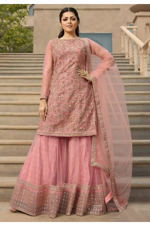 drashti dhami pink net heavy embroidered palazzo style suit 3802