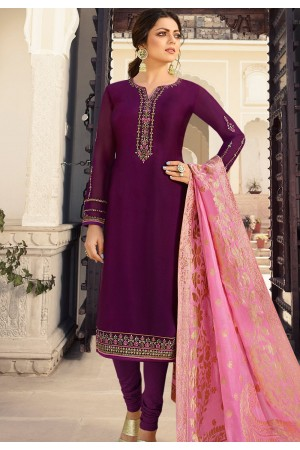 drashti dhami purple satin georgette straight churidar bollywood suit 4009