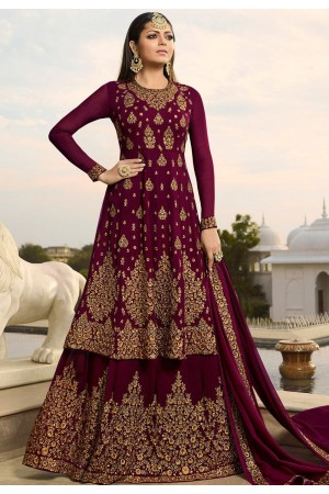 drashti dhami wine georgette embroidered lehenga style suit 3805