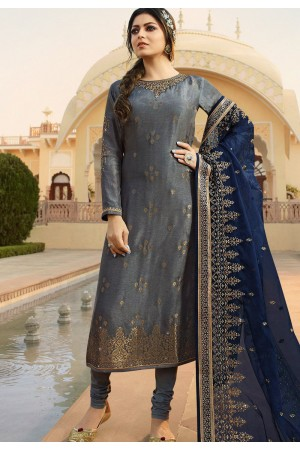 grey jacquard embroidered straight churidar suit 3704