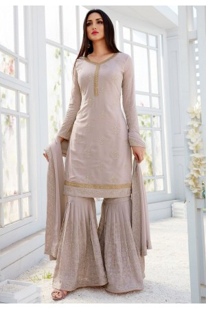 grey shade georgette straight sharara style suit 501