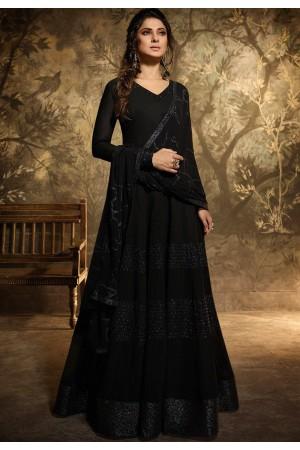 jennifer winget black georgette floor length designer suit 11035
