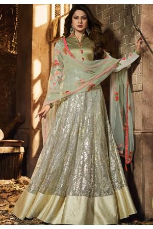jennifer winget green lycra silk floor length anarkali suit 11033