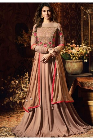 jennifer winget peach satin silk embroidered floor length gown style suit 11034