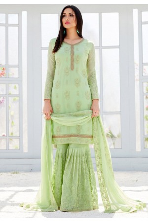 light green georgette straight sharara style suit 499