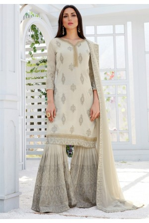 light grey georgette straight sharara style suit 497