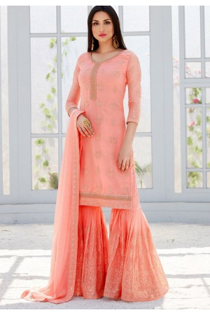 light pink georgette straight sharara style suit 495