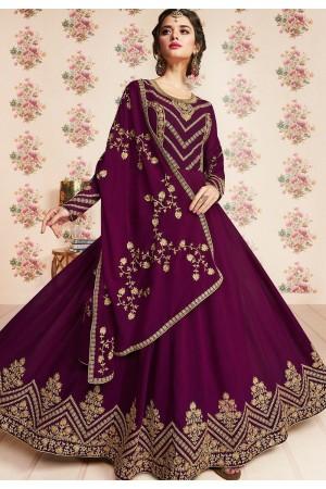 magenta georgette embroidered floor length anarkali suit 8186