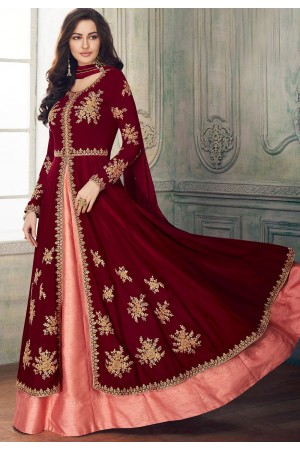 maroon pink georgette embroidered front slit anarkali suit 8205