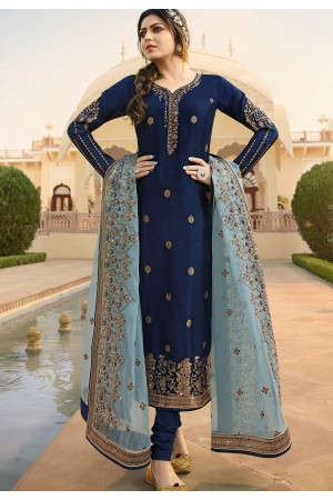 navy blue jacquard embroidered straight churidar suit 3706