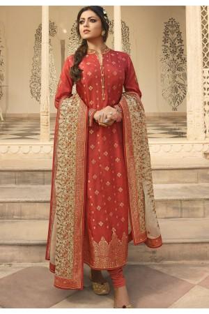 orange jacquard embroidered straight churidar suit 3707