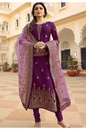 purple jacquard embroidered straight churidar suit 3701