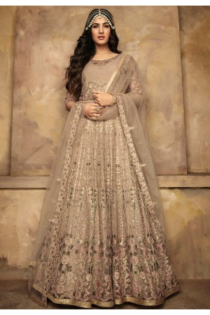 sonal chauhan beige net heavy embroidered long anarkali suit 7205