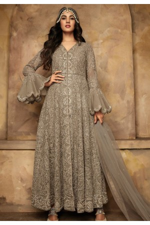sonal chauhan grey net heavy embroidered anarkali suit 7203
