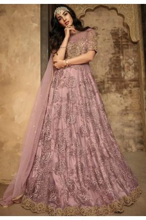 sonal chauhan mauve net embroidered floor length anarkali suit 7202