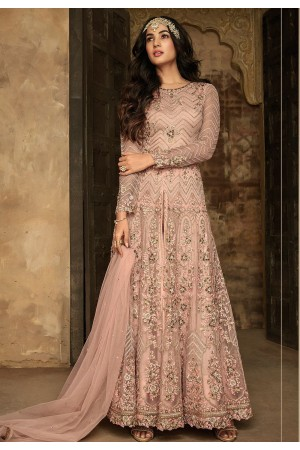 sonal chauhan peach net embroidered long trouser style anarkali suit 7207