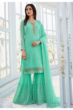 turquoise georgette straight sharara style suit 502