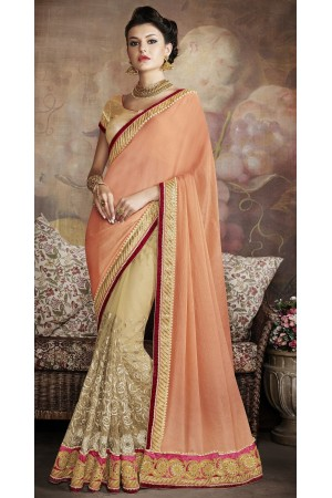 Party-wear-Beige-Peach-color-saree