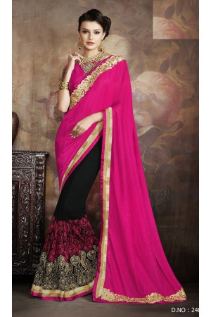 Party-wear-Black-Pink-color-7-saree