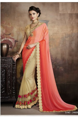Party-wear-Chikoo-Orange-color-saree