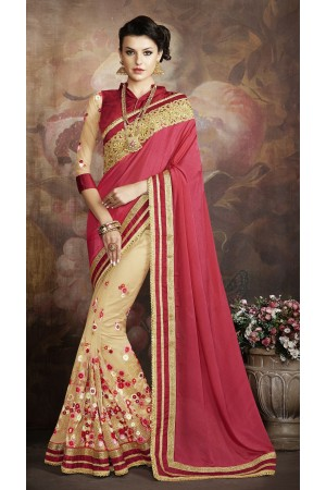 Party-wear-Red-Beige-color-saree