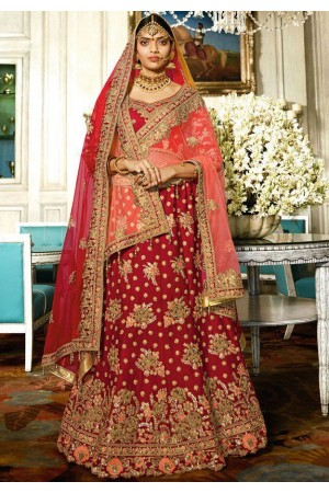 Maroon color silk bridal lehenga choli