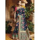 Blue pure banarasi silk wedding saree 1221
