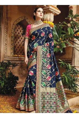Blue pure banarasi silk wedding saree 1221