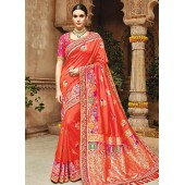 Coral peach pure banarasi silk wedding saree 1205