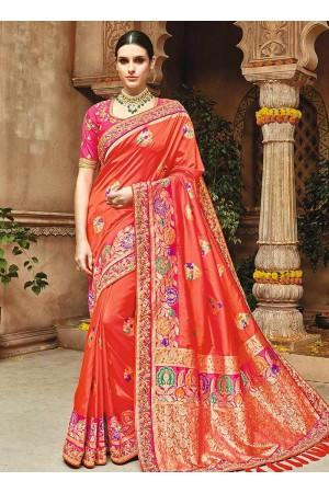 Coral peach pure banarasi silk wedding saree 1205