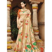 Cream color pure banarasi silk wedding saree 1209