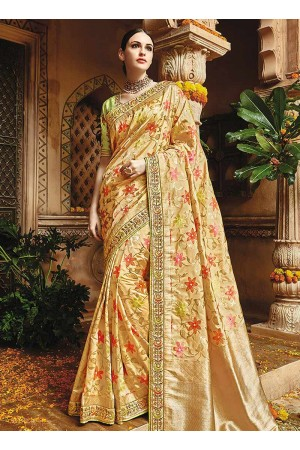 Cream pure banarasi silk wedding saree 1220