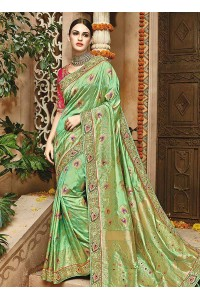 Fresh green pink pure banarasi silk wedding saree 1202