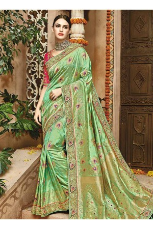 Fresh green pink pure banarasi silk wedding saree 1202