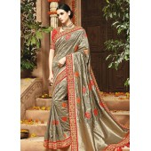Grey pure banarasi silk wedding saree 1215