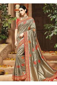 Grey pure banarasi silk wedding saree 1215